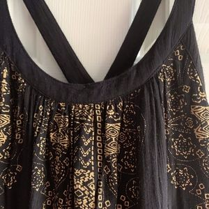 Free People Black gold smock dress/top